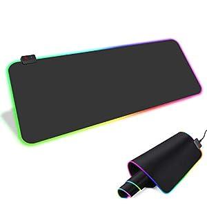 RGB Mauspad RSHTECH Memory-Funktion Gaming Maus Matte mit 14 Gruppen-Beleuchtungs Modi 2 Helligkeitsstufen für Computer Gaming-Tastatur (800 x 300 mm)