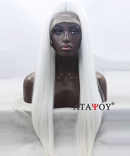 ATAYOU Lange Gerade Weiße Lace Front Perücken Hochwertige Hitzebeständige Cosplay Perücken + 1 Perücke Cap