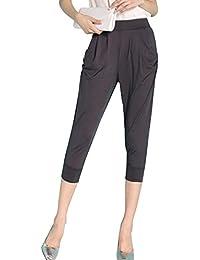 Qitun Donna Estate Sciolto Tinta Unita Vita Alta Pantaloni Harem Pantalone  Corti con Tasche c6706cb9ffc