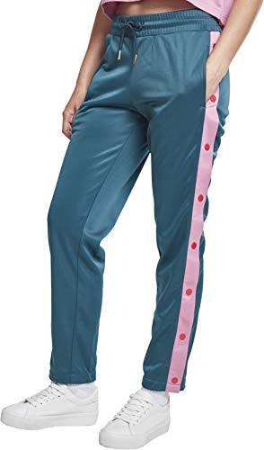Urban Classics Damen Ladies Button Up Track Pants Sporthose,, per pack Mehrfarbig (jasper/coolpink/firered 01479), W27(Herstellergröße: S) (Button-up-shirt L/s)