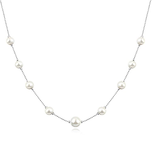 18 ct Chapado en oro perlas blancas collar de cadena de Crystals from Swarovski