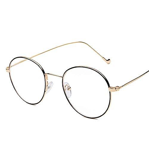 Easy Go Shopping Ultraleichte und feinkantige Metall-Myopie-Brille Durchsichtige Brillen für Männer und Frauen. Sonnenbrillen und Flacher Spiegel (Farbe : Gold Frame Black Circle Flat)