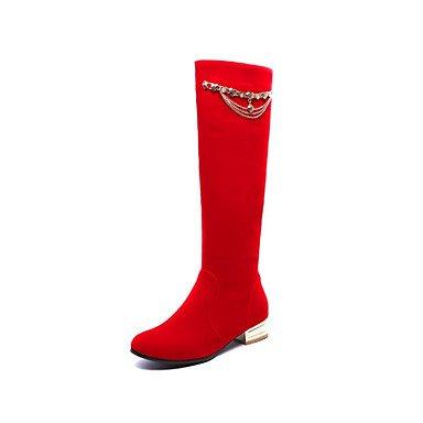 RTRY Scarpe da donna in pelle Nubuck Autunno Inverno Comfort moda Stivali Stivali tacco piatto Round Toe stivali Mid-Calf rivetto per vestire Office & carriera US9 / EU40 / UK7 / CN41