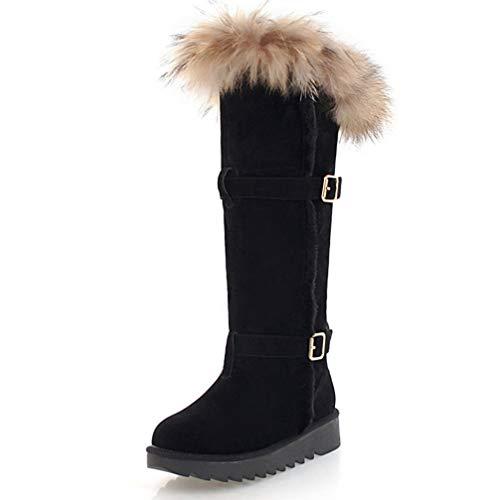 SHANGWU Damen Frauen hohe Biker Stiefel / 2018 Herbst und Winter Neue warme Pelz gefüttert Mujer Schnee Stiefel Kniehohe Stiefel warme Rutschfeste beiläufige Stiefel große größe