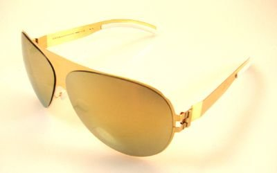 Mykita New Sunglasses Bernhard Willhelm FRANZ F9 Unisex Gold Aviator Yellow Mirrored