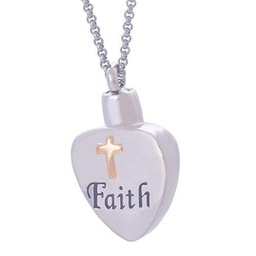 Anyeda argento collana rosario corta faith cross heart inciso collana ciondolo in acciaio inossidabile cenere urn collana ciondolo 2.1 * 3.5cm
