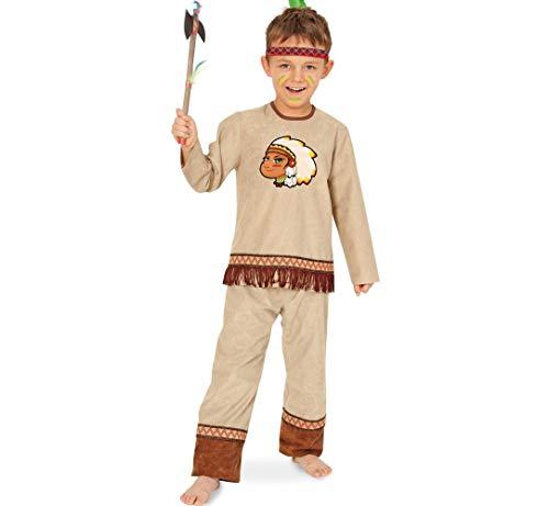 KarnevalsTeufel Kinderkostüm Indianer Anoki 2-teilig Oberteil und Hose mit Stirnband Wilder Westen Ureinwohner Amerika Gr 104 - 128 (104)