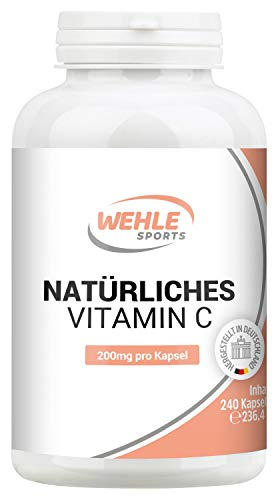 Natürliches Vitamin C Hochdosiert - 240 Vegane Kapseln 4 Monatsvorrat Acerola-Extrakt Und Hagebutten-Extrakt 400mg Reines Vitamin C Pro Tagesdosis (2 Kapseln) Laborgeprüft -