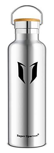 Super Sparrow Doppia Parete in Acciaio Inox coibentato Bottiglia di Acqua - Isolante della Borraccia - Perfetto Thermos - Privo di BPA, BPS, ftalati - Bocca Standard con Bamboo Cappello