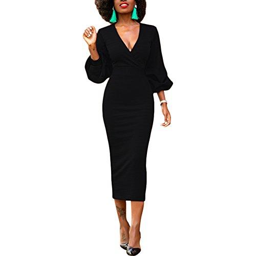 Lover-Beauty Abendkleider Damen Hoch Taille Etuikleid V-Ausschnitt Laternenhülse Bleistiftrock Vintage Etuikleid Elegant -