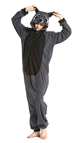 iPerry Waschbär Damen Herren Erwachsene Unisex Soft Fleece Kigurumi Tier Onesies Pyjamas Nachtwäsche Kostüm