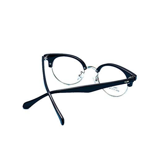 Chengduaijoer Moderner Brillengestell mit rundem Rahmen für Männer und Frauen (Color : Black-Silver)