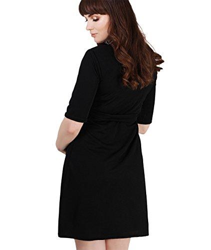 KRISP® Maternité Robe Courte Uni Taille Empire Elastique Ceinture Skater Nouveau Noir