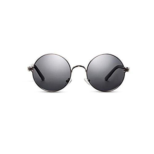KAI LE Wanderer Sonnenbrillen Damen Herren Outdoor Casual Sonnenblende UV400 Schutz Neue Polarisierte Driving Geschenk Persönlichkeit Vintage Optional 5 Farbe Metall (Farbe : Silver Frame Gray)