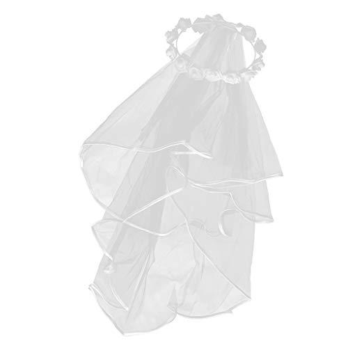 Braut Zubehör Kostüm - SM SunniMix Weiß Brautschleier Hochzeit Schleier Kostüm Zubehör für Braut