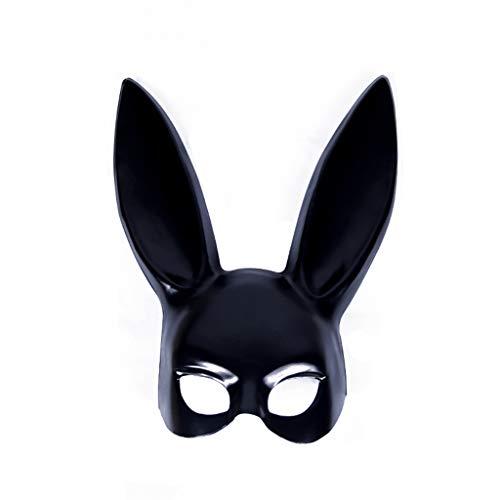 Uus Bunny Ear Mask, Halloween Party Ball Maske Schwarz und Weiß PVC Halbe Gesichtsmaske 38 * 18 cm (Farbe : SCHWARZ)