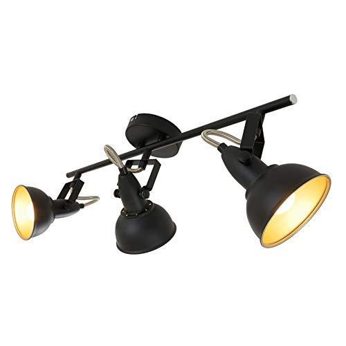 Briloner Leuchten 2049-035 Plafonnier 3 spots pivotants - luminaire style vintage - métal noir & or mat - 3 douilles E14 - 40 W max. - 55.4 x 10 x 18.1 cm
