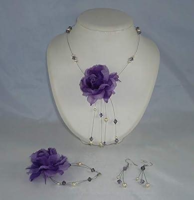 Parure mariée - Véra002 - violet et ivoire - Bijoux mariage