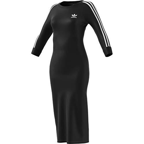 adidas Damen 3STRIPES Dress Kleid, Schwarz, - Kleid Adidas Schwarz