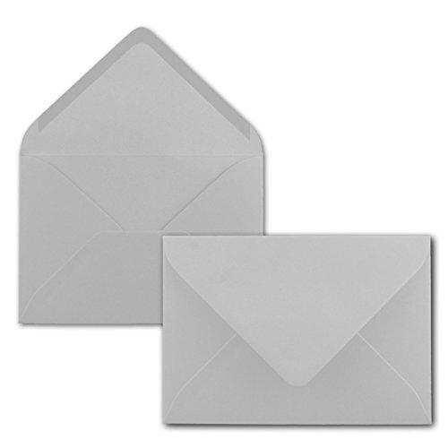 Brief-Umschläge in Hellgrau - 100 Stück - DIN C5 Kuverts 22,0 x 15,4 cm - Nassklebung ohne Fenster - Weihnachten, Grußkarten - Serie FarbenFroh® Series 15.4