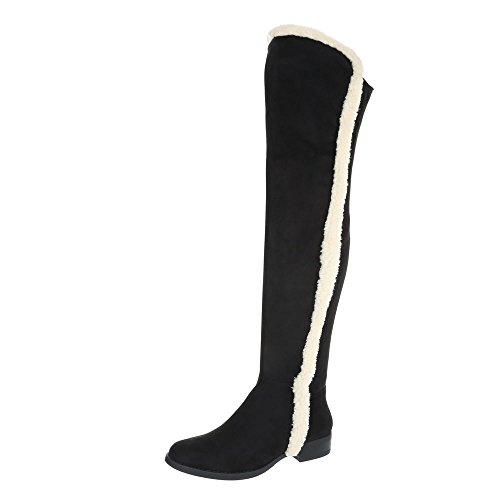 Overknees Damenschuhe Overknees Blockabsatz Blockabsatz Reißverschluss Ital-Design Stiefel Schwarz