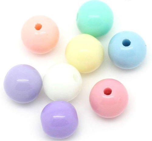Box-250Acryl Pastell Farbige Perlen 6mm. Ideal für Schmuckherstellung, Dekoration, Sicken, und andere Handarbeiten. ()