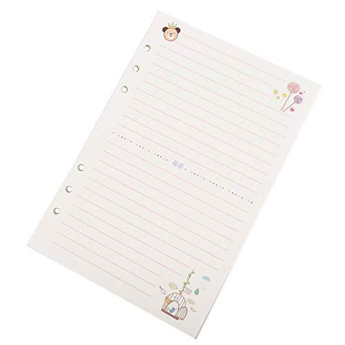 Jeteho 2 Pack 45 Blatt A5 Größe Notizbuch Nachfülleinlagen Füllpapier Seiten für 6 Löcher Binder Notebook Tagesplaner Tagebuch