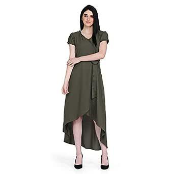 Eavan Olive Green High-Low Dress