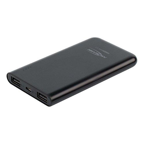 ANSMANN 5400mAh Powerbank 2 USB Ports externer Akku 2.4A Output Power Bank mit LED-Statusanzeige - iPhone, iPad, Tablet, Kindle, Smartphone, Handy mobil und sicher aufladen (Schwarz)