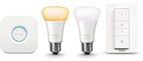 Philips Kit de démarrage 2 ampoules Hue White Ambiance + Pont de connexion + Télécommande variateur de lumière Dim Switch [emballage traditionnel]