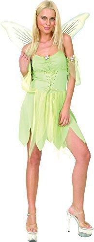 Damen Weihnachtsparty Tinkerbell Kostüm Nimmerland Pixie Grün Fee Outfit (Kostüm Tinkerbell Erwachsene)