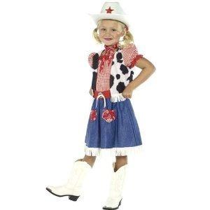 Mädchen Wilder Westen Cowboy Cowgirl büchertag Woche Wilder Westen Kostüm Kleid Outfit 4-12 Jahre - Mädchen, 4-6 Years (Mädchen Cowboy Kostüme)