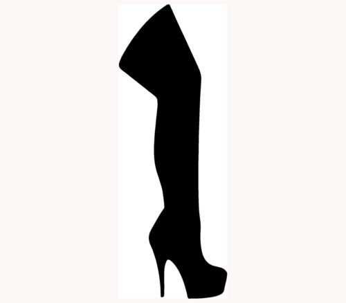 Kniehohe Stiefel mit Auto-Aufkleber, vinyl, Motiv