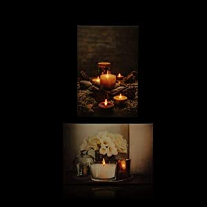 2 LED Bilder mit Beleuchtung, Timer und Fernbedienung! - Leinwandbild 60 x 40 cm - Gemütliche Stimmung mit Kerzenschein (Wellness)
