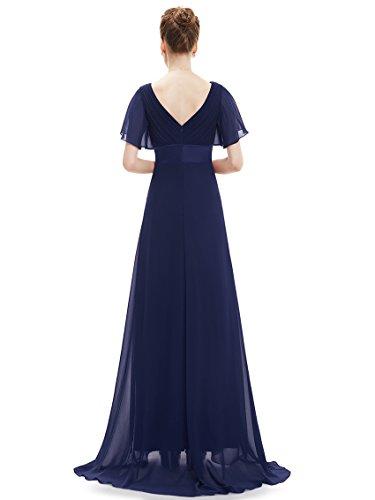 Ever Pretty Robe de soirée en double V-col et manches courtes 09890 Bleu Marine
