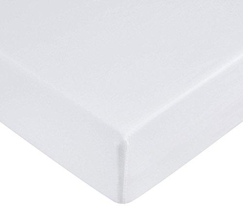 Amazonbasics - lenzuolo con angoli in microfibra, 160 x 200 x 30 cm, bianco brillante