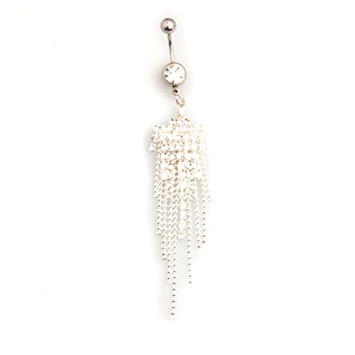 Pixnor Körper warm Strass Tassel Nabel Dangle bauch Ring Stange der Tasten Schmuck Piercing