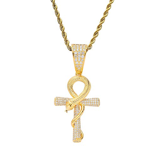 Schlange Halskette, Kupfer eingelegten Zirkon Anhänger, Hip Hop Schmuck, senden Liebhaber und Freunde Geburtstagsgeschenk, Männer und Frauen Stil,Gold