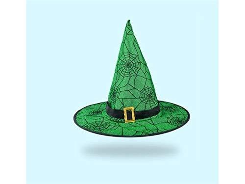 DOOUYTERT Künstliche Blumen Satin Wizard Hut Hexen Spitz Hut für Halloween Ostern Weihnachten Kostüm Zubehör (schwarz + grün) Hochzeitssträuße