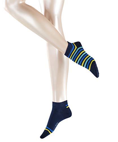 ESPRIT Damen Sneakersocken Multi Stripe 2-Pack, Baumwollmischung, 2 Paar, Blau (Marine 6120), Größe: 39-42