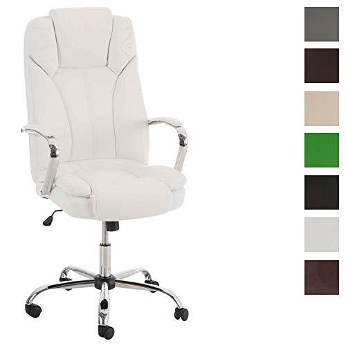 CLP XXL - Bürostuhl XANTHOS mit hochwertiger Polsterung und Kunstlederbezug I Drehbarer und höhenverstellbarer Chefsessel mit Einer Belastbarkeit von 210 kg I erhältlich Weiß
