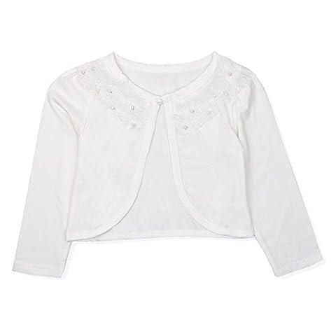 Freebily Mädchen Strickjacke Bolero Cape Kinder Lange Ärmel Schulterjacke Bolerojäckche Pullover festlich weiß/rosa in Größe 86-140 #2 Elfenbein/Spitze Rüsche 98-104