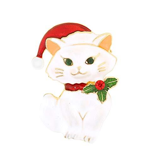 kanggest 1x Katzen Brosche Elegant Süße Weihnachten Katzen Brosche Pins Anstecknadeln Abzeichen Banquet Party Hochzeit Brautschmuck Brosche Schals