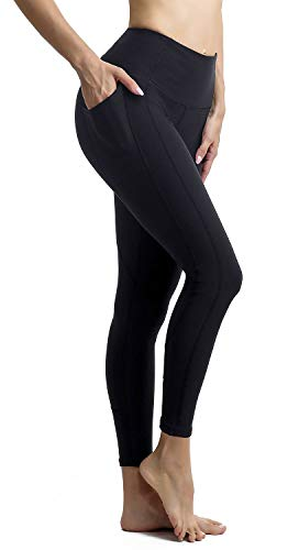 Persit Damen Leggings, Sport Tights Leggins Yogahose Sporthose Fitnesshose für Damen Schwarz-M