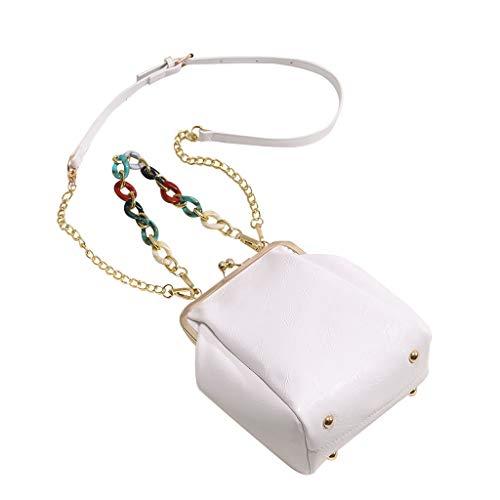 Einfache Kommerzielle Kostüm - Huacat Frauen Color Chain Retro Stiletto Bag One-Shoulder Small Square Messenger Shoulder Handtaschen Einfache Farbe Einzigen Schulter Kleinen