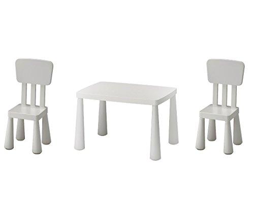 B2C IKEA Mammut Kindertisch, weiß und Mammut Kinder Stuhl, weiß (2Pack)