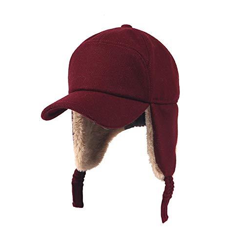 LIXUE Chapeau Chaud Femme Automne Et Hiver Peluche Chaud Ski Chapeau Volant Protection Oreille Casquette De Baseball Tendance (Couleur: Gris Foncé, Rouge) (Color : Red)