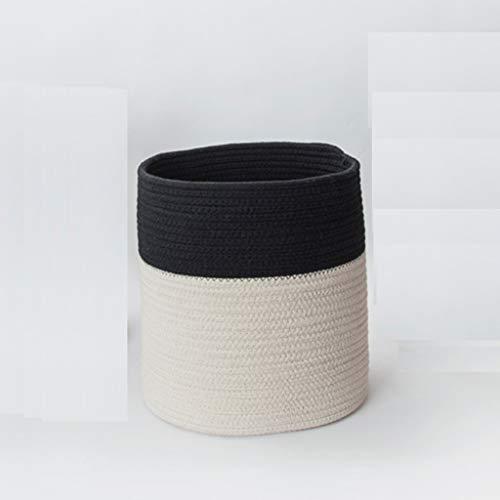 HYYSH Scatola del Giocattolo del Cesto del canestro di stoccaggio del Cavo del Cotone, Colore in Bianco e Nero di Cucitura del Materiale del Rattan (Dimensioni : L.)
