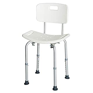 HOMCOM Bath Chair Shower Seat Safety Bathroom Elderly Aids Adjustable Positions