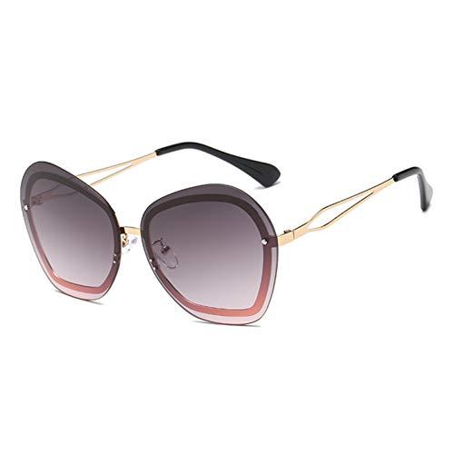 Taiyangcheng Randlose Sonnenbrille Für Frauen Mode Ovale Sonnenbrille Weibliche Flache Spiegel Eyewears,Gold allmählich lila